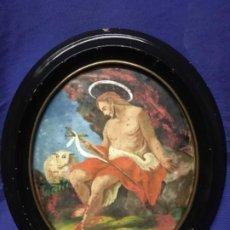 Arte: (MT) CRISTAL PINTADO RELIGIOSO S.XVIII / S.XIX ORIGINAL. Lote 193901098