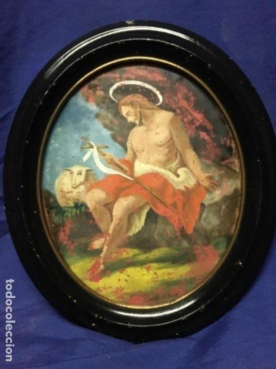 Arte: (MT) CRISTAL PINTADO RELIGIOSO S.XVIII / S.XIX ORIGINAL - Foto 7 - 193901098