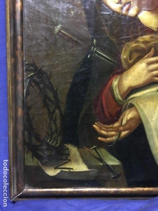 Arte: (MT) ANTIGUO OLEO RELIGIOSO LA DOLOROSA S.XIX - ENMARCADO - Foto 5 - 193902722