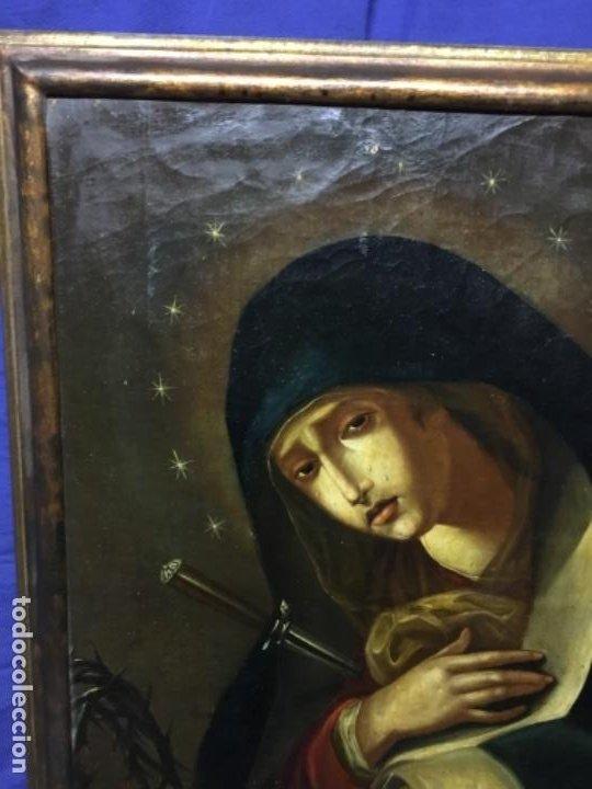 Arte: (MT) ANTIGUO OLEO RELIGIOSO LA DOLOROSA S.XIX - ENMARCADO - Foto 6 - 193902722