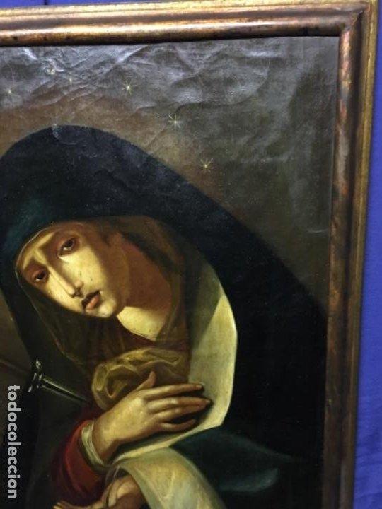 Arte: (MT) ANTIGUO OLEO RELIGIOSO LA DOLOROSA S.XIX - ENMARCADO - Foto 7 - 193902722