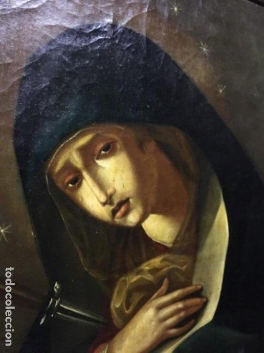 Arte: (MT) ANTIGUO OLEO RELIGIOSO LA DOLOROSA S.XIX - ENMARCADO - Foto 9 - 193902722