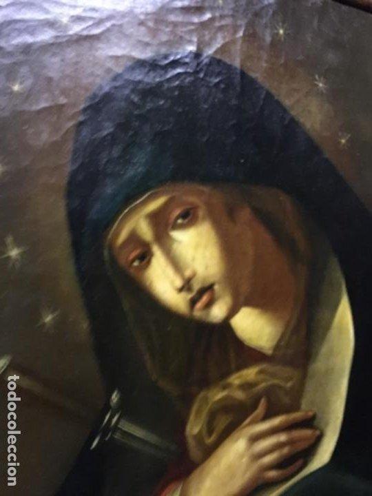 Arte: (MT) ANTIGUO OLEO RELIGIOSO LA DOLOROSA S.XIX - ENMARCADO - Foto 10 - 193902722