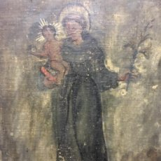 Arte: (MT) ANTIGUO OLEO RELIGIOSO SAN ANTONIO S.XVIII, VER FOTOGRAFÍAS. Lote 193904661