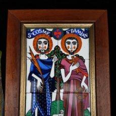 Arte: BONITO CUADRO DE ROCHE 1972 SAN COSME Y SAN DAMIAN DE CERAMICA ESMALTADO. Lote 193994603
