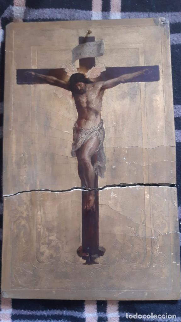 PINTURA ANTIGUA SOBRE CARTON PIEDRA DE CRISTO COMO SE APRECIA PINTURA PARTIDA (Arte - Arte Religioso - Pintura Religiosa - Otros)