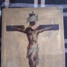 Arte: PINTURA ANTIGUA SOBRE CARTON PIEDRA DE CRISTO COMO SE APRECIA PINTURA PARTIDA. Lote 194088996