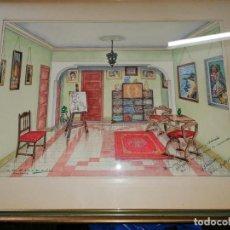 Arte: ACUARELA AGOSTO 1959 DE J.G CALDERON CON DEDICATORIA PARA JOSE MARIA COLLADO BADAJOZ LA GARROVILLA. Lote 194099985