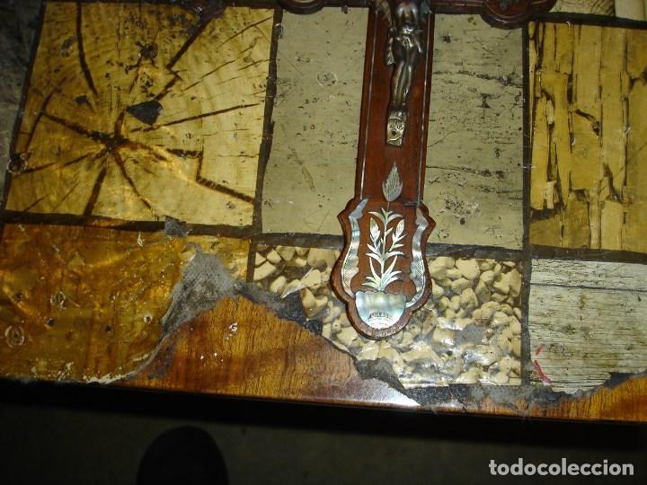 Arte: exce)pcional cruz siglo XIX realizada en caoba y marqueteria de nacar ver fotos - Foto 3 - 194111750