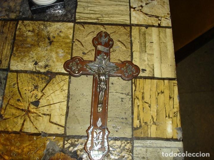 Arte: exce)pcional cruz siglo XIX realizada en caoba y marqueteria de nacar ver fotos - Foto 4 - 194111750