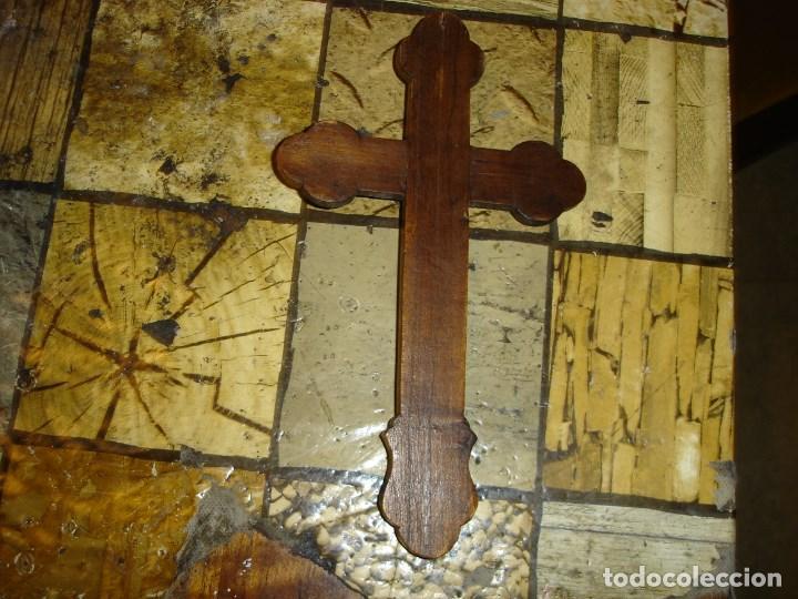 Arte: exce)pcional cruz siglo XIX realizada en caoba y marqueteria de nacar ver fotos - Foto 5 - 194111750