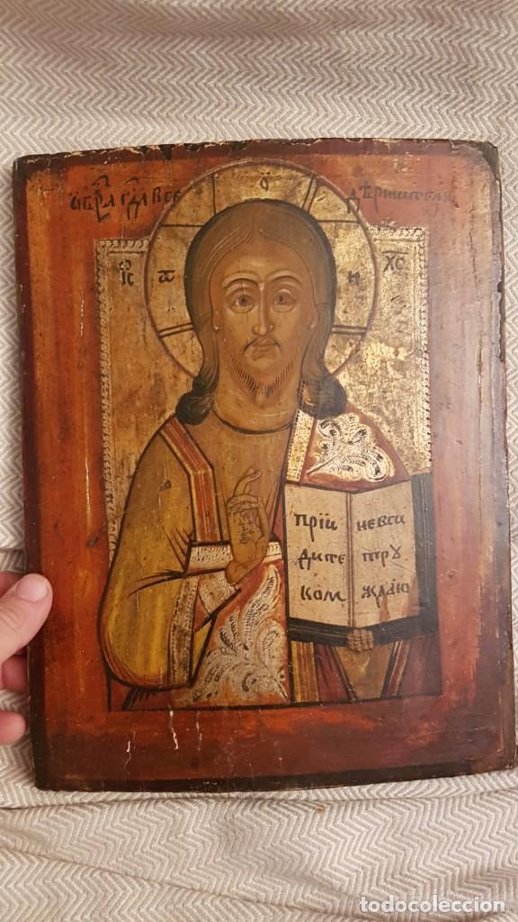 ANTIGUO ICONO RUSO . SIGLO XIX (Arte - Arte Religioso - Pintura Religiosa - Oleo)