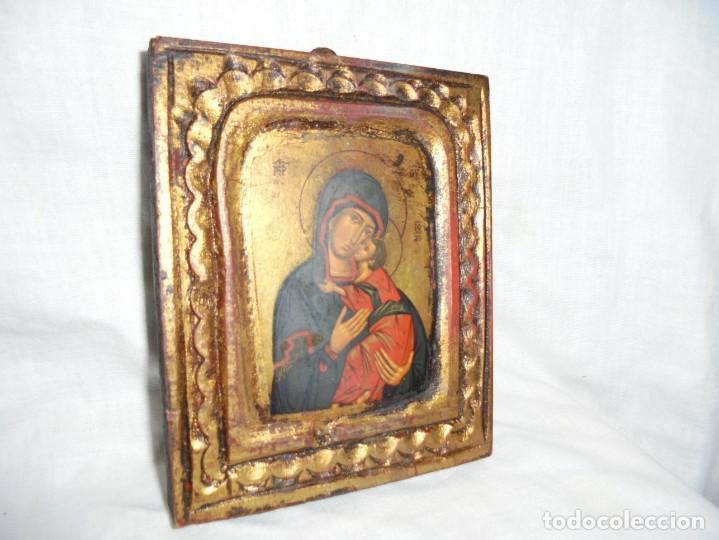 ICONO CON CERTIFICADO Y SELLADO,ES UNA COPIA DE UN ANTIGUO ICONO BIZANTINO (Arte - Arte Religioso - Iconos)
