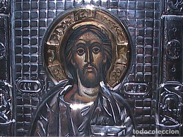 EXCELENTE ICONO PANTOCRATOR BIZANTINO EN PLATA DE LEY. (Arte - Arte Religioso - Iconos)