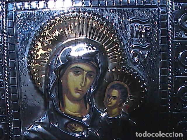 EXCELENTE ICONO BIZANTINO DE LA VIRGEN DE IVER / IVERIA EN PLATA DE LEY. (Arte - Arte Religioso - Iconos)