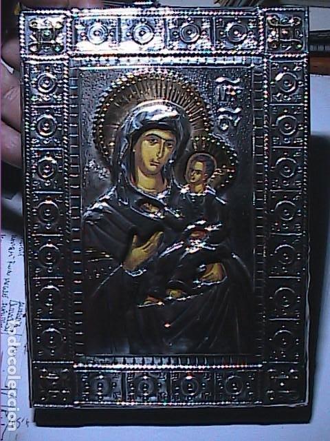 Arte: EXCELENTE ICONO BIZANTINO DE LA VIRGEN DE IVER / IVERIA EN PLATA DE LEY. - Foto 2 - 194157436