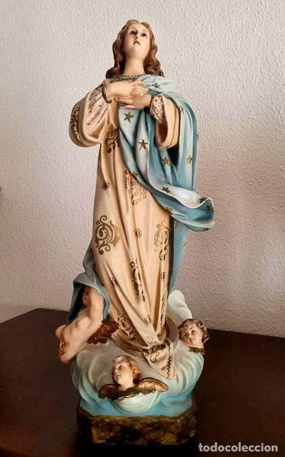 ANTIGUA, MUY BELLA Y BIEN CONSERVADA VIRGEN INMACULADA DE ESTUCO DE OLOT. (Arte - Arte Religioso - Escultura)