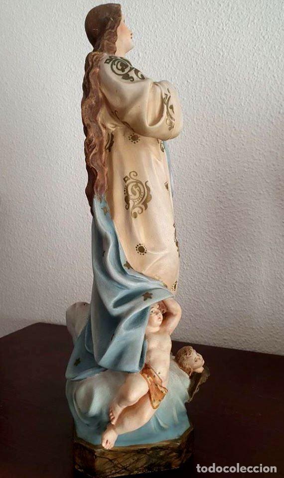 Arte: Antigua, muy bella y bien conservada Virgen Inmaculada de estuco de Olot. - Foto 5 - 194185626