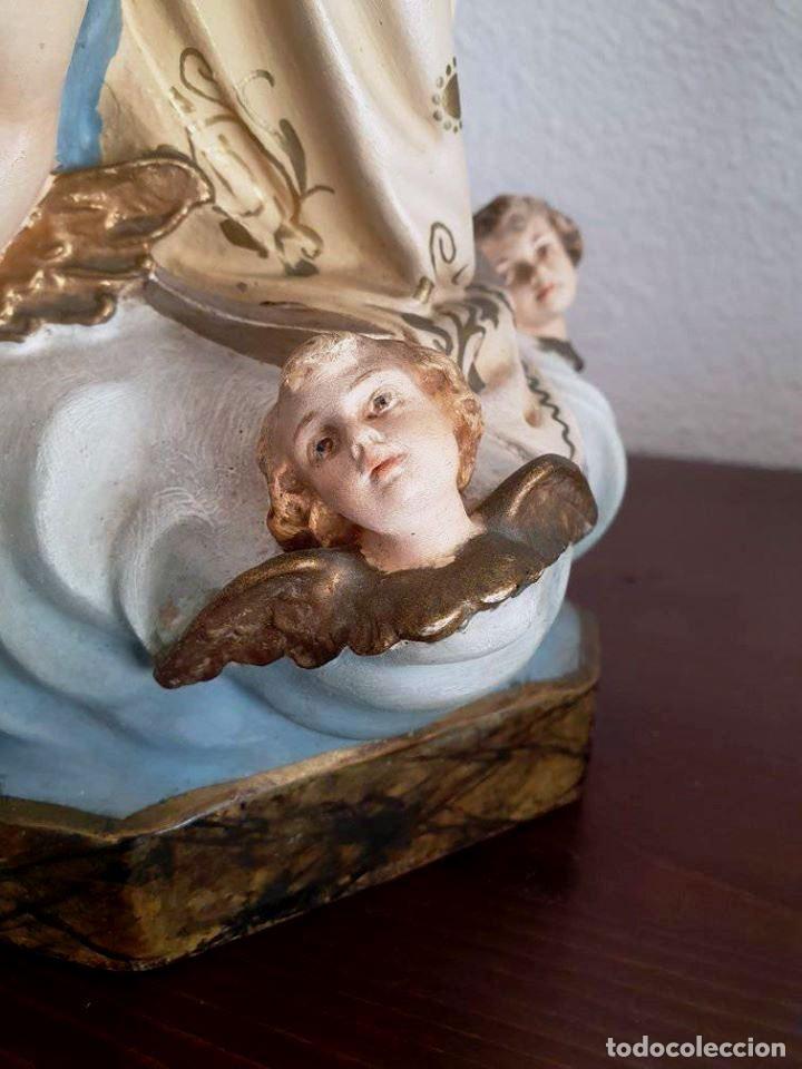 Arte: Antigua, muy bella y bien conservada Virgen Inmaculada de estuco de Olot. - Foto 10 - 194185626