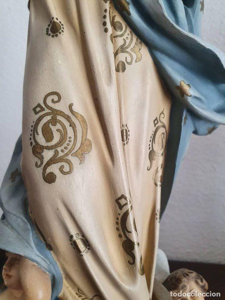 Arte: Antigua, muy bella y bien conservada Virgen Inmaculada de estuco de Olot. - Foto 12 - 194185626