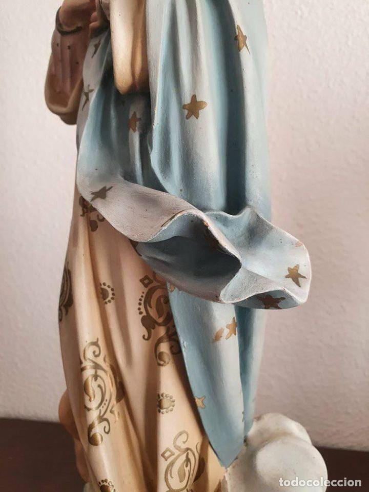 Arte: Antigua, muy bella y bien conservada Virgen Inmaculada de estuco de Olot. - Foto 13 - 194185626