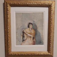 Arte: GRANADINA CON MANTÓN. ACUARELA DE SÁNCHEZ SOLÁ. GRANADA 1891. Lote 194209163