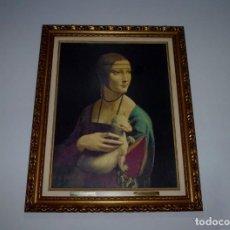 Arte: LAMINA CON MARCO BARNIZADA.LA DAMA DEL ARMIÑO DE LEONARDO DA VINCI.CON PLACAS.100 X 80. Lote 194210956