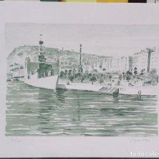 Arte: ANTIGUA LITOGRAFIA - JOSEP SERRA LLIMONA - PUERTO DE BARCELONA - NUMERADA 60/150 - DE GALERIA / C-13. Lote 194215850
