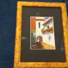 Arte: PEQUEÑO CUADRO PINTURA OLEO IMAGEN BARRIO SANTA CRUZ DE SEVILLA. LEER. Lote 194219035