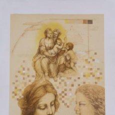 Arte: LITOGRAFIA LAURA SAURI FAJULA - HOMENATGE A LEONARDO - NUMERADA 28 / 55 - 63 X 48 CM / C-30. Lote 194220905