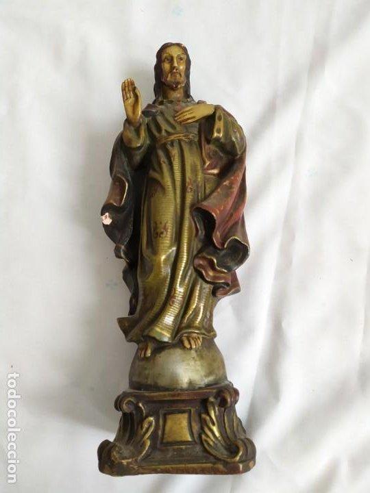 Arte: Antigua figura Sagrado Corazón - Foto 3 - 194223401