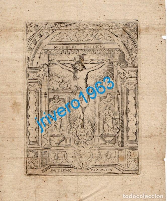SEVILLA, SIGLO XVIII, ESPECTACULAR GRABADO DEL CRISTO DE SAN AGUSTIN,180X215MM (Arte - Arte Religioso - Grabados)