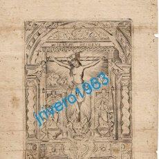 Arte: SEVILLA, SIGLO XVIII, ESPECTACULAR GRABADO DEL CRISTO DE SAN AGUSTIN,180X215MM. Lote 194230951
