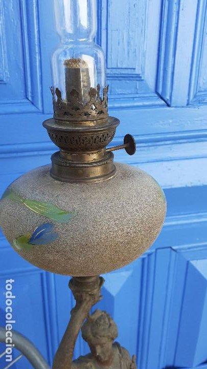 Arte: Estatua con lámpara de petróleo:La Música, representación del siglo XIX firmada por Ernest Roucot, - Foto 6 - 194237532