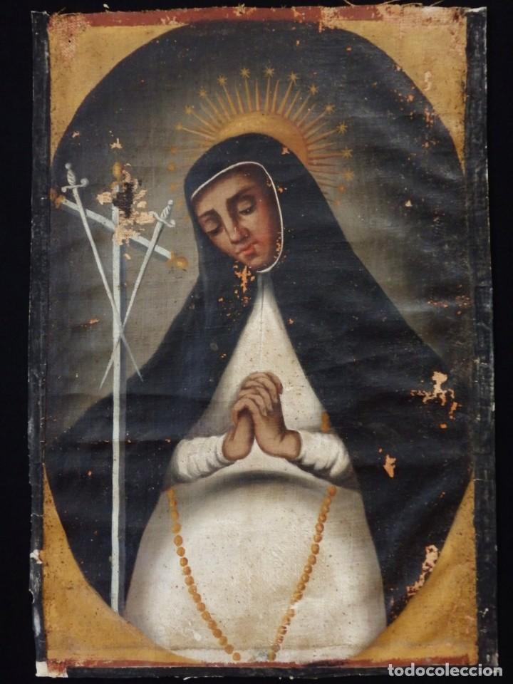 VIRGEN DE LA PALOMA. ÓLEO SOBRE LIENZO. ESC. ESPAÑOLA, SIGLO XVII. MEDIDAS: 41X 28 CM. (Arte - Arte Religioso - Pintura Religiosa - Oleo)