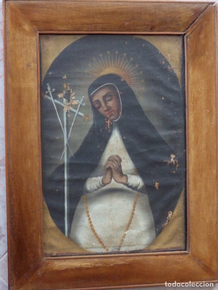 Arte: Virgen de la Paloma. Óleo sobre lienzo. Esc. Española, siglo XVII. Medidas: 41x 28 cm. - Foto 2 - 194246780