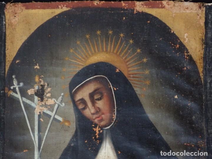 Arte: Virgen de la Paloma. Óleo sobre lienzo. Esc. Española, siglo XVII. Medidas: 41x 28 cm. - Foto 3 - 194246780