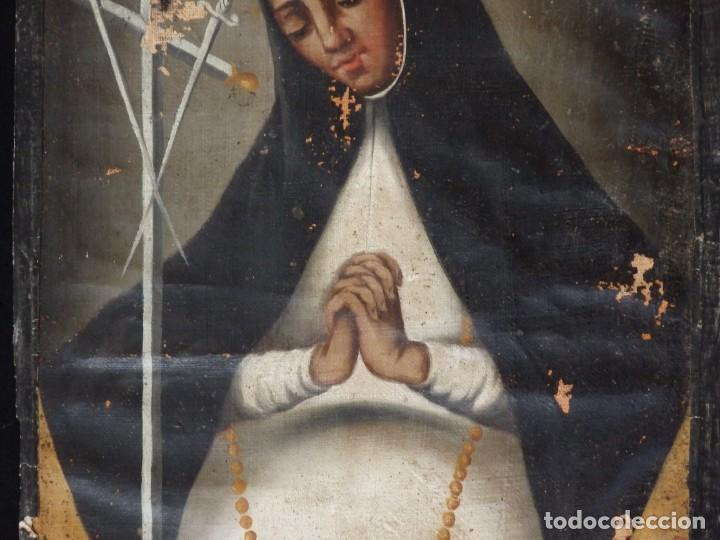 Arte: Virgen de la Paloma. Óleo sobre lienzo. Esc. Española, siglo XVII. Medidas: 41x 28 cm. - Foto 4 - 194246780