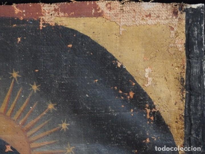 Arte: Virgen de la Paloma. Óleo sobre lienzo. Esc. Española, siglo XVII. Medidas: 41x 28 cm. - Foto 6 - 194246780