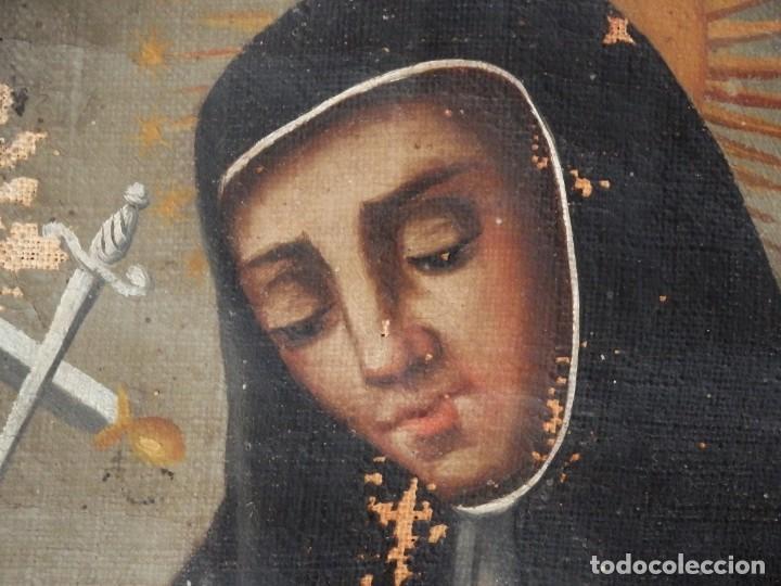 Arte: Virgen de la Paloma. Óleo sobre lienzo. Esc. Española, siglo XVII. Medidas: 41x 28 cm. - Foto 7 - 194246780