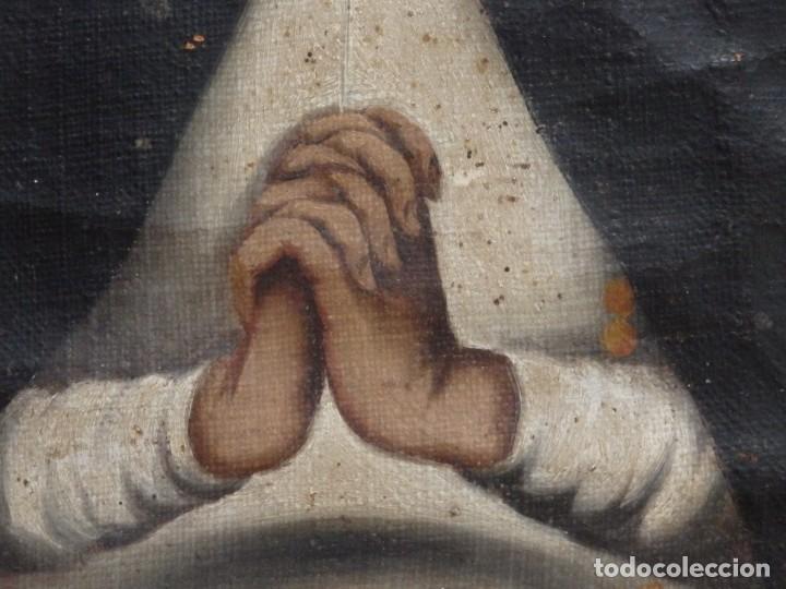 Arte: Virgen de la Paloma. Óleo sobre lienzo. Esc. Española, siglo XVII. Medidas: 41x 28 cm. - Foto 9 - 194246780
