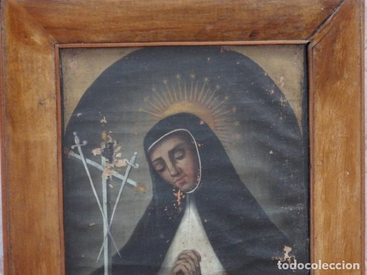 Arte: Virgen de la Paloma. Óleo sobre lienzo. Esc. Española, siglo XVII. Medidas: 41x 28 cm. - Foto 16 - 194246780