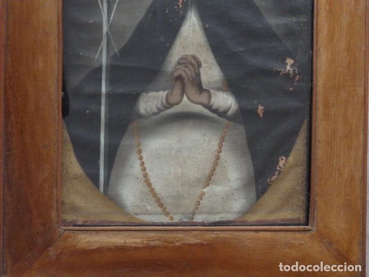 Arte: Virgen de la Paloma. Óleo sobre lienzo. Esc. Española, siglo XVII. Medidas: 41x 28 cm. - Foto 17 - 194246780