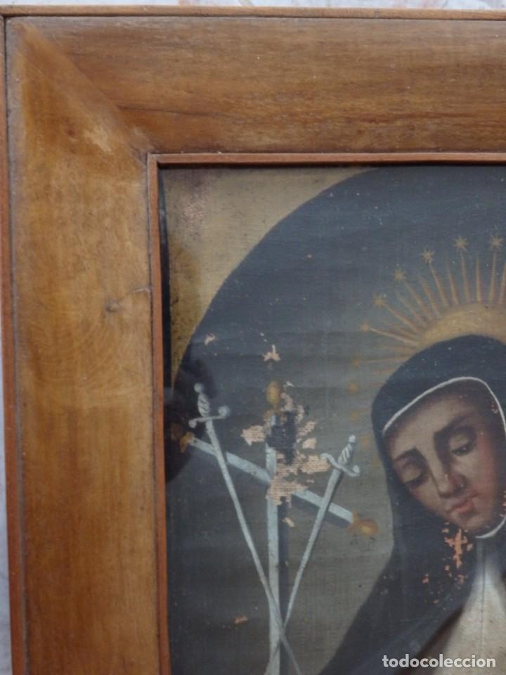 Arte: Virgen de la Paloma. Óleo sobre lienzo. Esc. Española, siglo XVII. Medidas: 41x 28 cm. - Foto 18 - 194246780