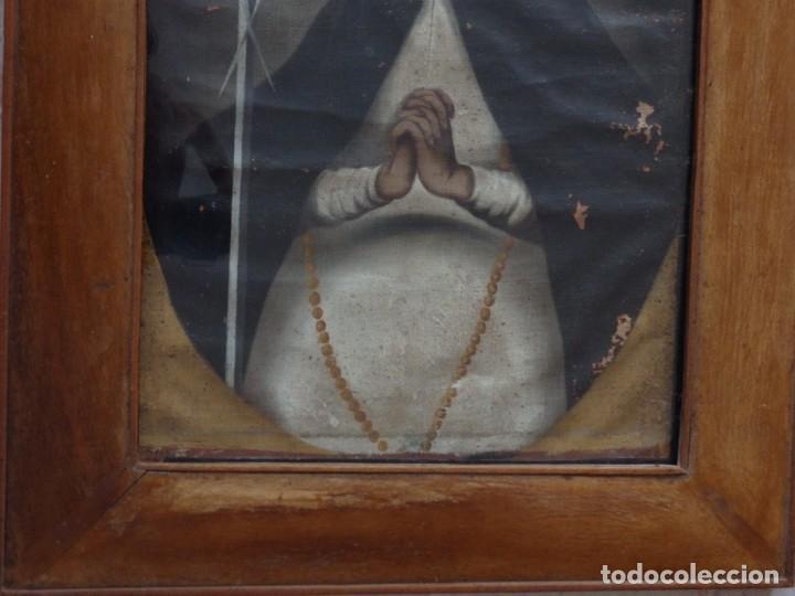 Arte: Virgen de la Paloma. Óleo sobre lienzo. Esc. Española, siglo XVII. Medidas: 41x 28 cm. - Foto 19 - 194246780