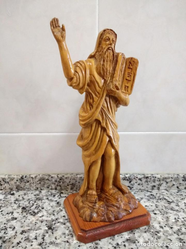 Arte: Talla en Madera de Olivo de Moisés con Los 10 Mandamientos.Hecho a Mano en Belén. - Foto 3 - 194305160
