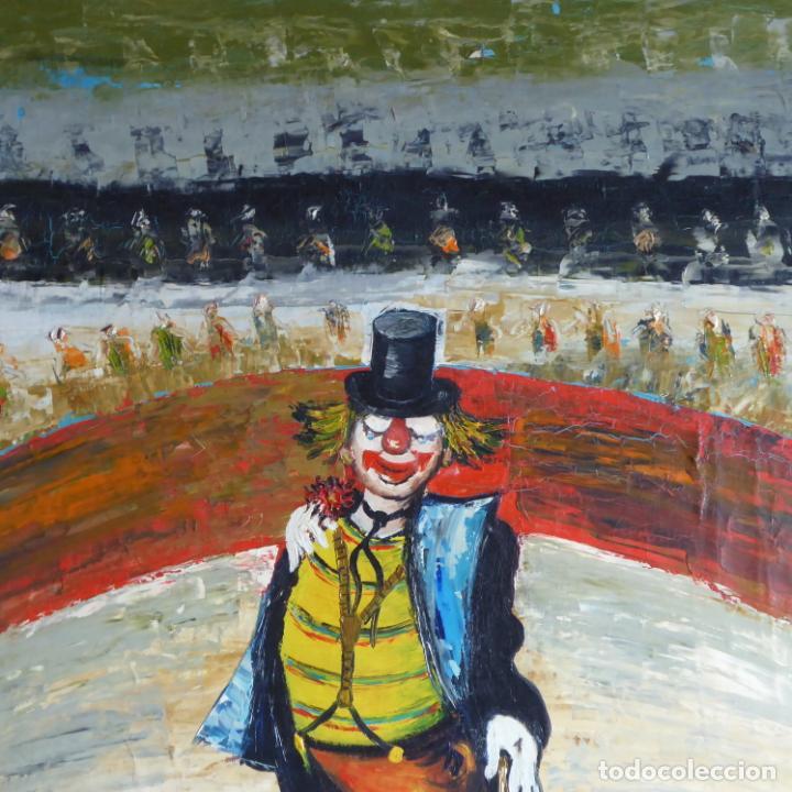 Arte: Bonito y divertido oleo sobre lienzo de payaso en el circo. Firmado y dedicado. Siglo XX. Enmarcado. - Foto 2 - 194306880