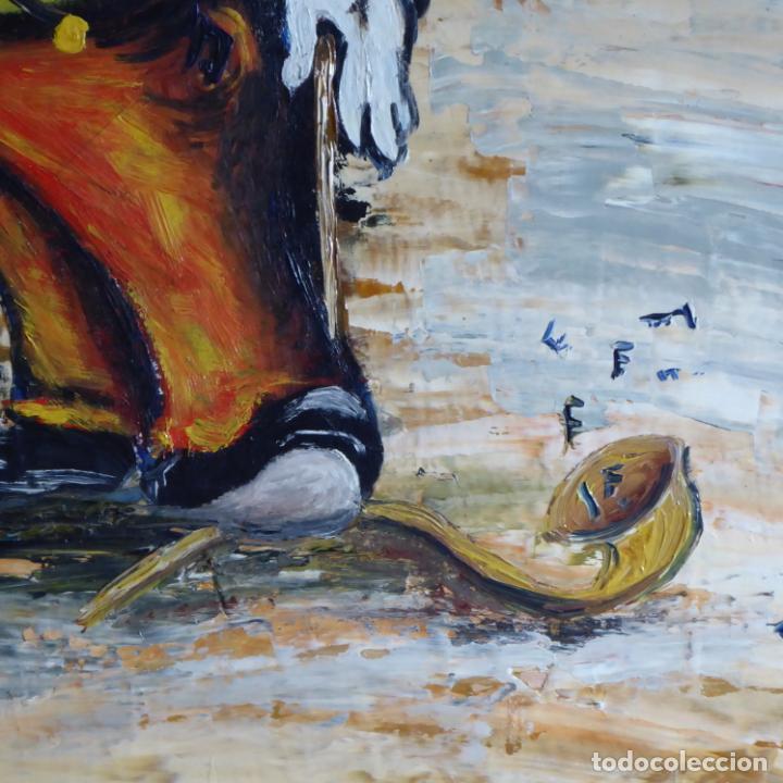 Arte: Bonito y divertido oleo sobre lienzo de payaso en el circo. Firmado y dedicado. Siglo XX. Enmarcado. - Foto 3 - 194306880