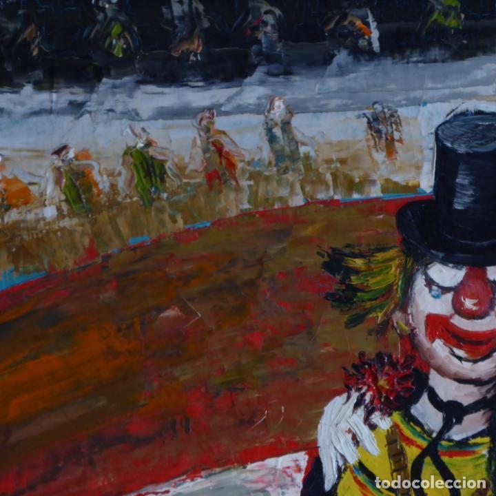 Arte: Bonito y divertido oleo sobre lienzo de payaso en el circo. Firmado y dedicado. Siglo XX. Enmarcado. - Foto 4 - 194306880