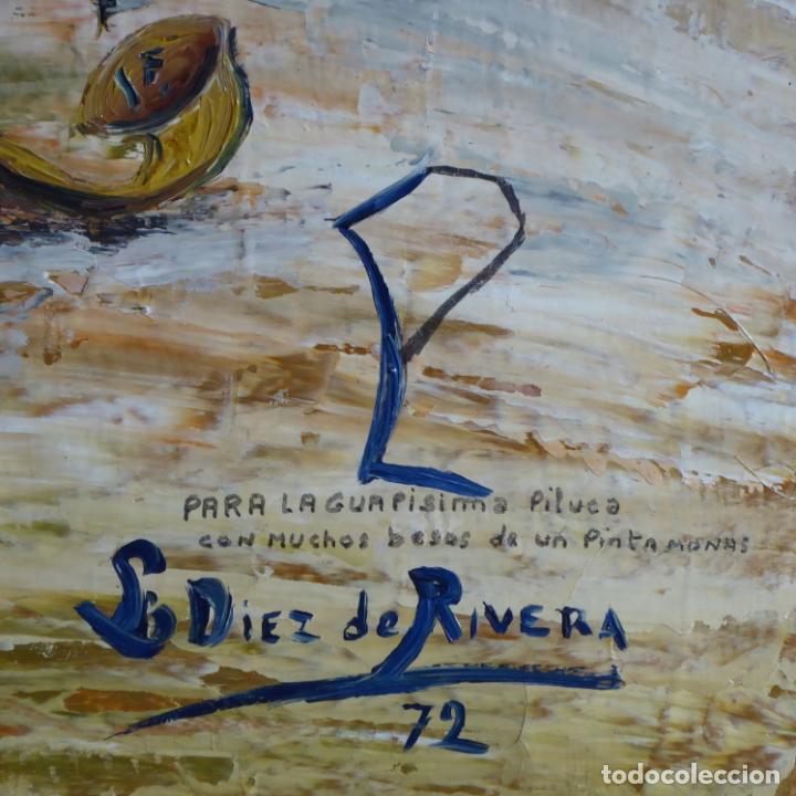 Arte: Bonito y divertido oleo sobre lienzo de payaso en el circo. Firmado y dedicado. Siglo XX. Enmarcado. - Foto 5 - 194306880